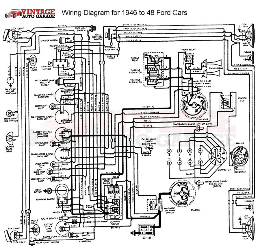 68 ford truck horn wire diagram 1946-1948 ford mercury chrome 6v-12v conversion kit ... 1948 ford truck horn wiring diagram #2